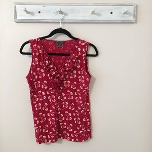 Ralph Lauren Red Floral Top